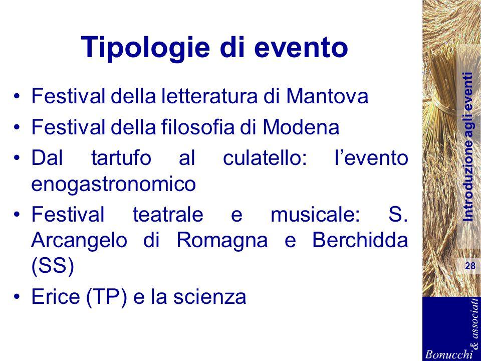 Introduzione agli eventi 28 Tipologie di evento Festival della letteratura di Mantova Festival della filosofia di Modena Dal tartufo al culatello: lev