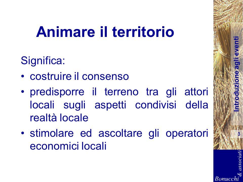Introduzione agli eventi 3 Animare il territorio Significa: costruire il consenso predisporre il terreno tra gli attori locali sugli aspetti condivisi