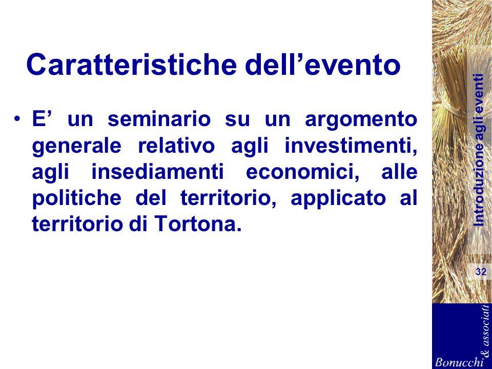 Introduzione agli eventi 32 Caratteristiche dellevento E un seminario su un argomento generale relativo agli investimenti, agli insediamenti economici