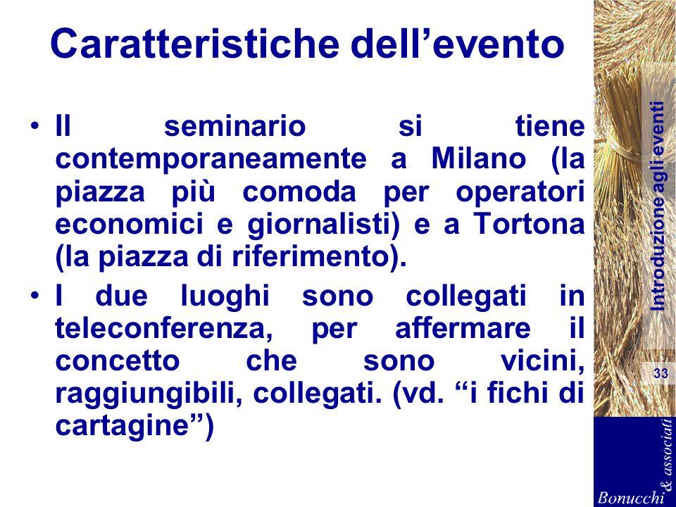 Introduzione agli eventi 33 Caratteristiche dellevento Il seminario si tiene contemporaneamente a Milano (la piazza più comoda per operatori economici