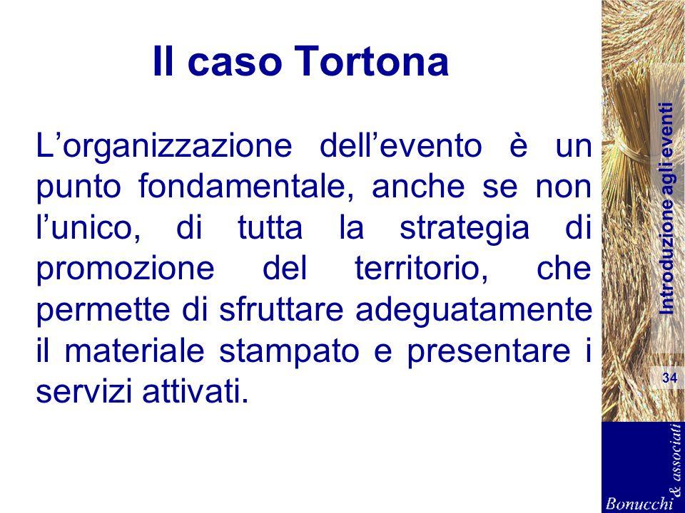 Introduzione agli eventi 34 Il caso Tortona Lorganizzazione dellevento è un punto fondamentale, anche se non lunico, di tutta la strategia di promozio