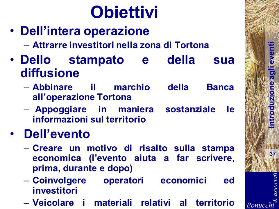 Introduzione agli eventi 37 Obiettivi Dellintera operazione –Attrarre investitori nella zona di Tortona Dello stampato e della sua diffusione –Abbinar