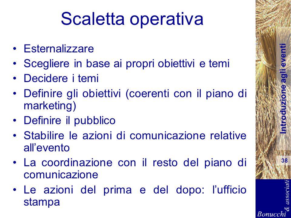 Introduzione agli eventi 38 Scaletta operativa Esternalizzare Scegliere in base ai propri obiettivi e temi Decidere i temi Definire gli obiettivi (coe