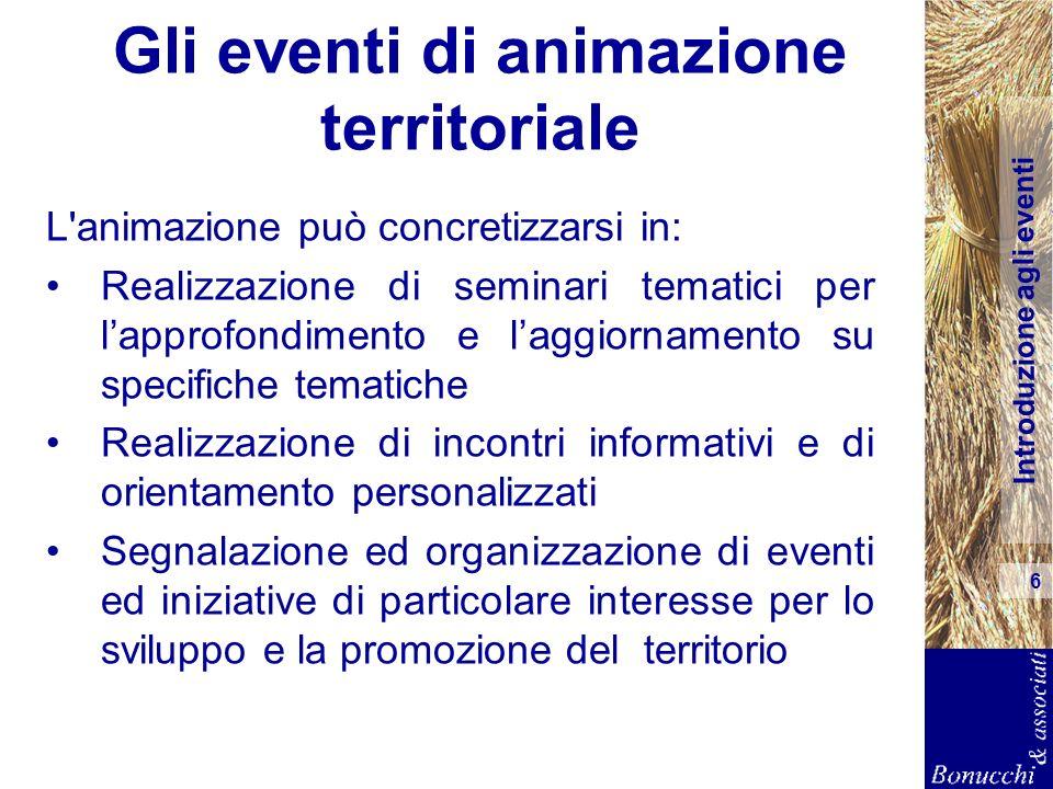 Introduzione agli eventi 6 Gli eventi di animazione territoriale L'animazione può concretizzarsi in: Realizzazione di seminari tematici per lapprofond