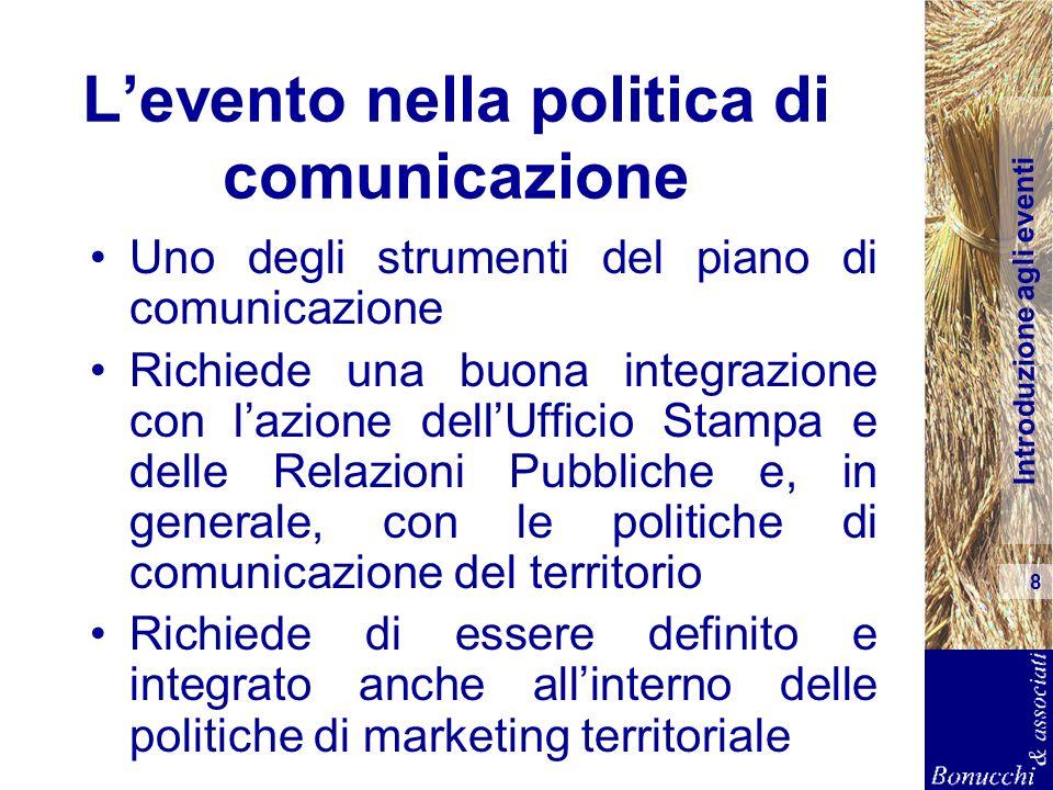 Introduzione agli eventi 8 Levento nella politica di comunicazione Uno degli strumenti del piano di comunicazione Richiede una buona integrazione con