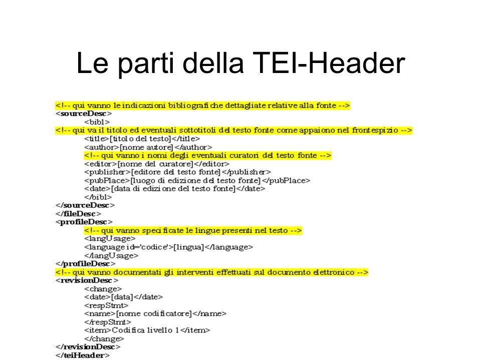 CRILet di Giuseppe Gigliozzi - Centro Ricerche Informatica e Letteratura 18 Le parti della TEI-Header