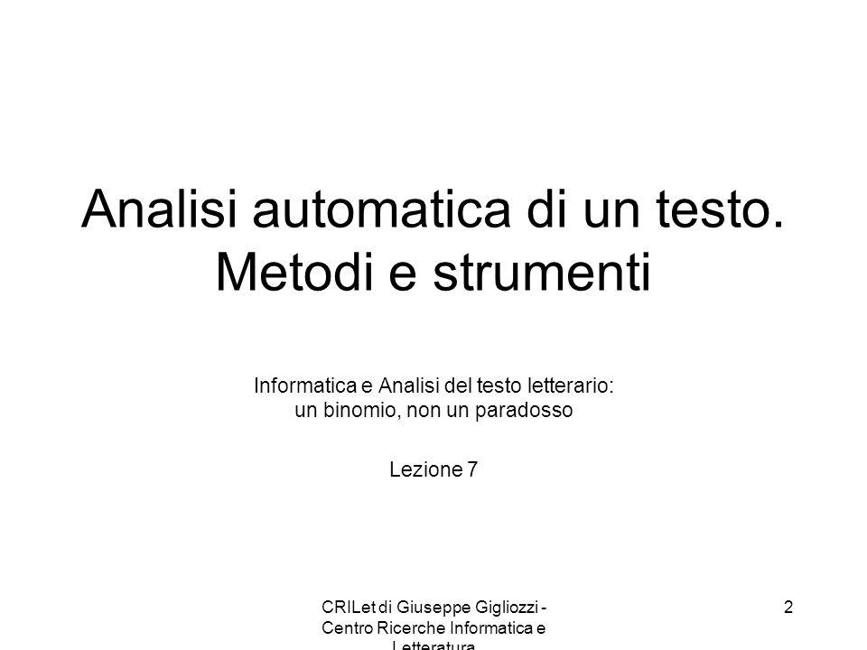 CRILet di Giuseppe Gigliozzi - Centro Ricerche Informatica e Letteratura 2 Analisi automatica di un testo. Metodi e strumenti Informatica e Analisi de
