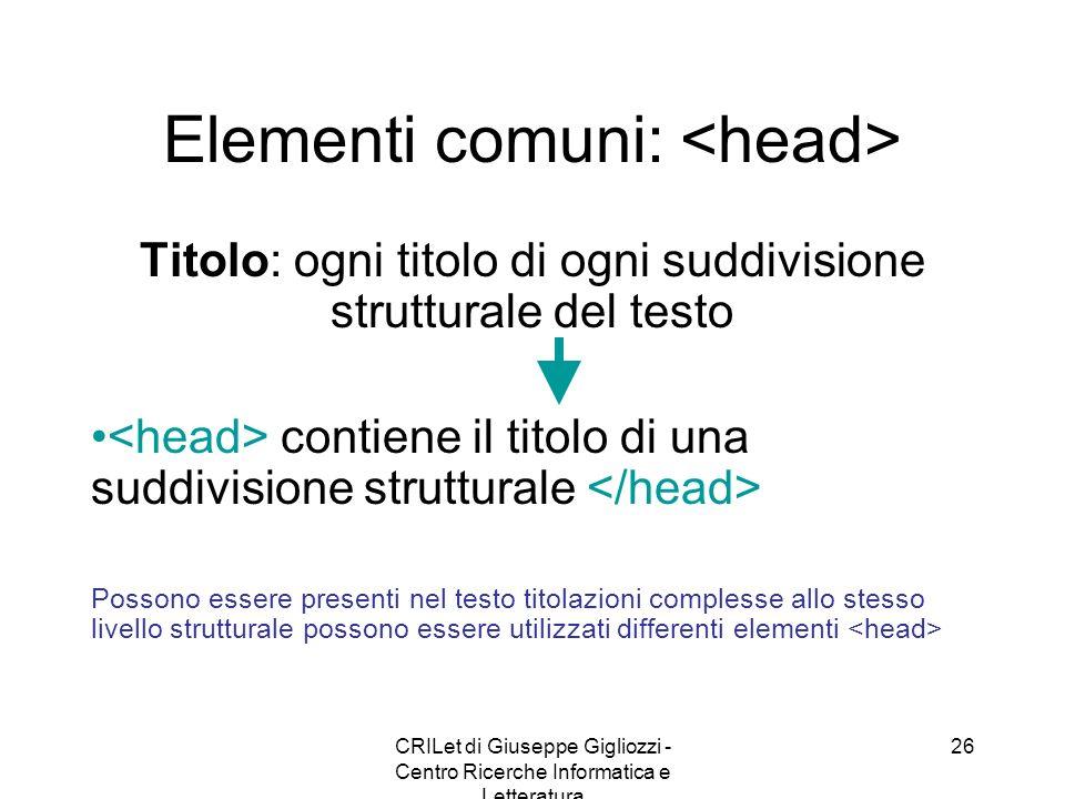CRILet di Giuseppe Gigliozzi - Centro Ricerche Informatica e Letteratura 26 Elementi comuni: Titolo: ogni titolo di ogni suddivisione strutturale del