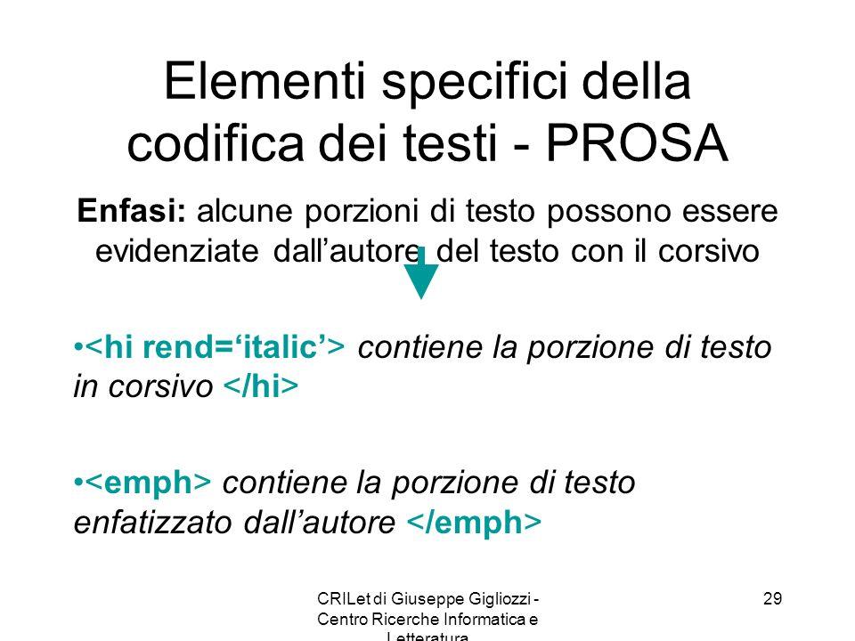CRILet di Giuseppe Gigliozzi - Centro Ricerche Informatica e Letteratura 29 Elementi specifici della codifica dei testi - PROSA Enfasi: alcune porzion