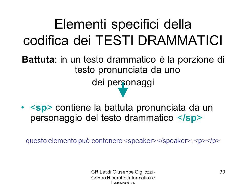 CRILet di Giuseppe Gigliozzi - Centro Ricerche Informatica e Letteratura 30 Elementi specifici della codifica dei TESTI DRAMMATICI Battuta: in un test