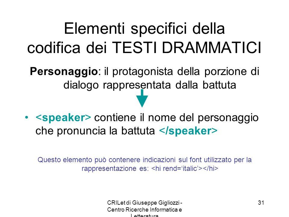 CRILet di Giuseppe Gigliozzi - Centro Ricerche Informatica e Letteratura 31 Elementi specifici della codifica dei TESTI DRAMMATICI Personaggio: il pro