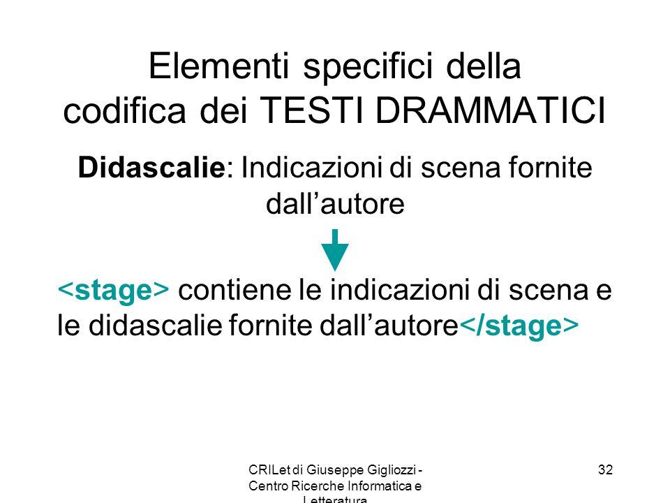 CRILet di Giuseppe Gigliozzi - Centro Ricerche Informatica e Letteratura 32 Elementi specifici della codifica dei TESTI DRAMMATICI Didascalie: Indicaz