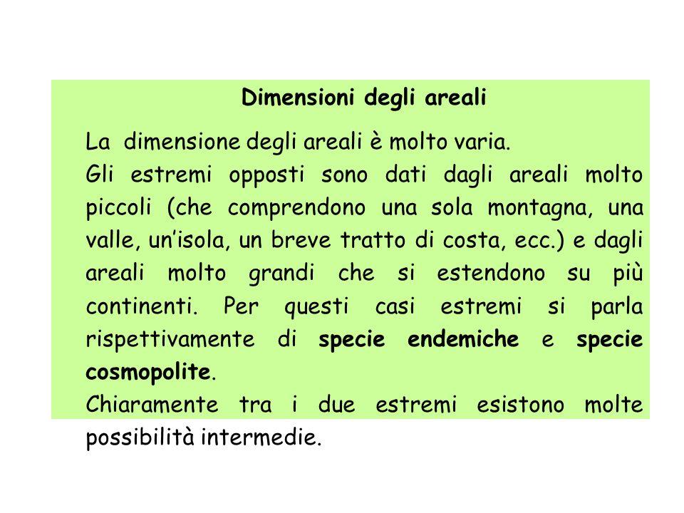 Dimensioni degli areali La dimensione degli areali è molto varia. Gli estremi opposti sono dati dagli areali molto piccoli (che comprendono una sola m