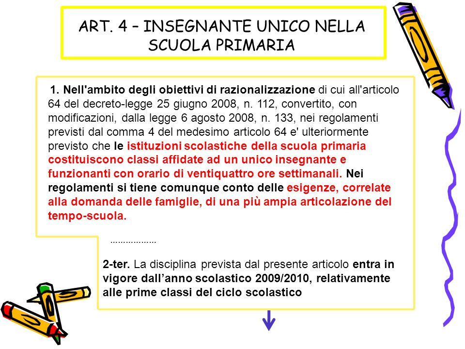 ART. 4 – INSEGNANTE UNICO NELLA SCUOLA PRIMARIA 1. Nell'ambito degli obiettivi di razionalizzazione di cui all'articolo 64 del decreto-legge 25 giugno