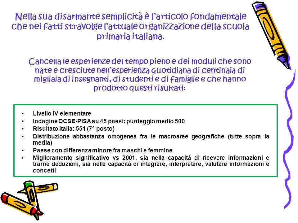 Nella sua disarmante semplicità è larticolo fondamentale che nei fatti stravolge lattuale organizzazione della scuola primaria italiana. Cancella le e
