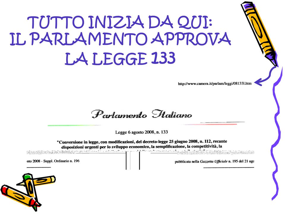 TUTTO INIZIA DA QUI: IL PARLAMENTO APPROVA LA LEGGE 133