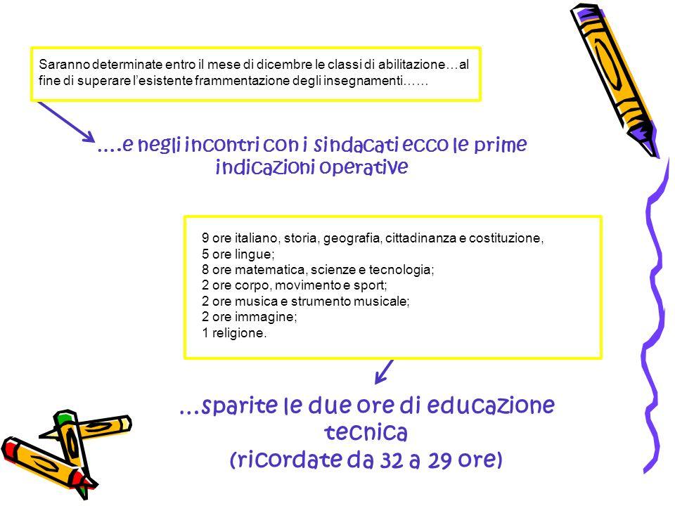 Saranno determinate entro il mese di dicembre le classi di abilitazione…al fine di superare lesistente frammentazione degli insegnamenti…… 9 ore itali