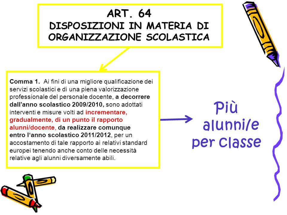ART. 64 DISPOSIZIONI IN MATERIA DI ORGANIZZAZIONE SCOLASTICA Comma 1. Ai fini di una migliore qualificazione dei servizi scolastici e di una piena val