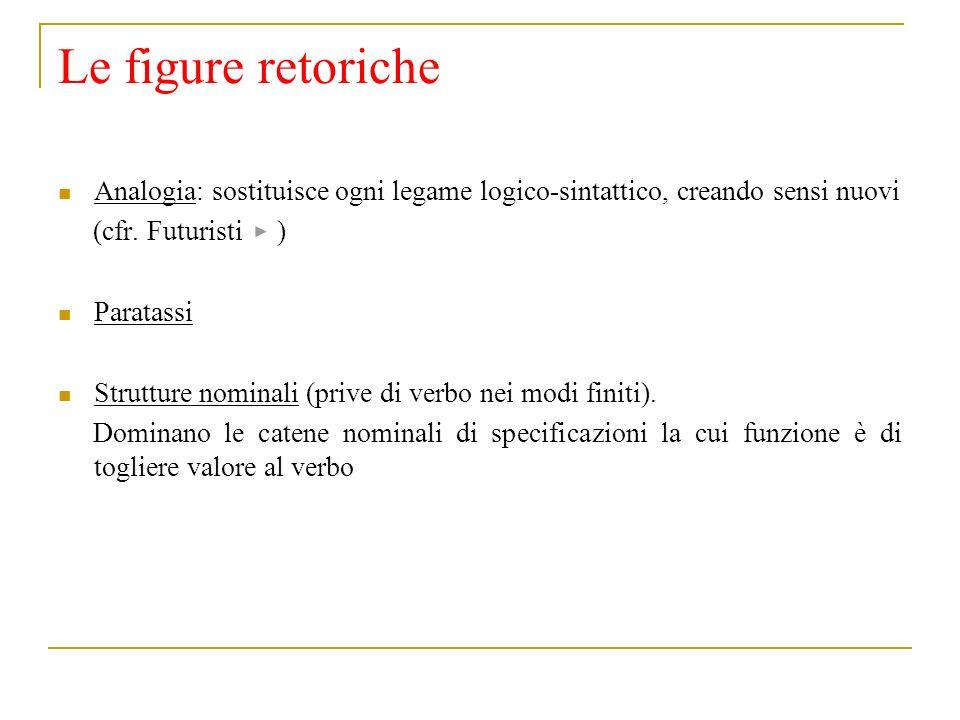 Le figure retoriche Analogia: sostituisce ogni legame logico-sintattico, creando sensi nuovi (cfr. Futuristi ) Paratassi Strutture nominali (prive di