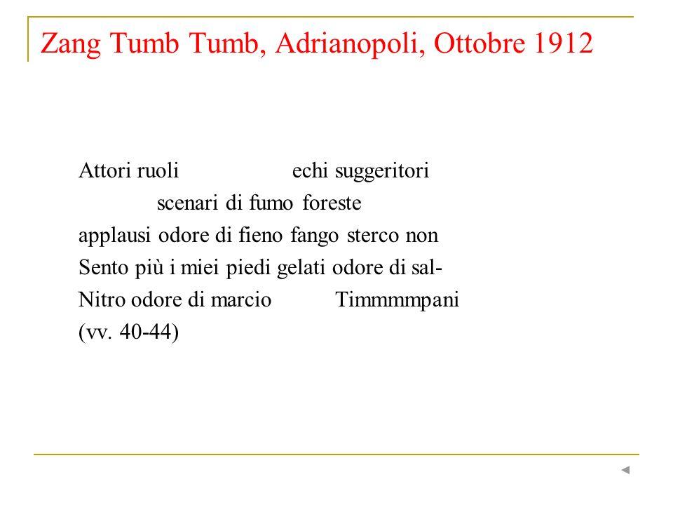 Zang Tumb Tumb, Adrianopoli, Ottobre 1912 Attori ruoli echi suggeritori scenari di fumo foreste applausi odore di fieno fango sterco non Sento più i m