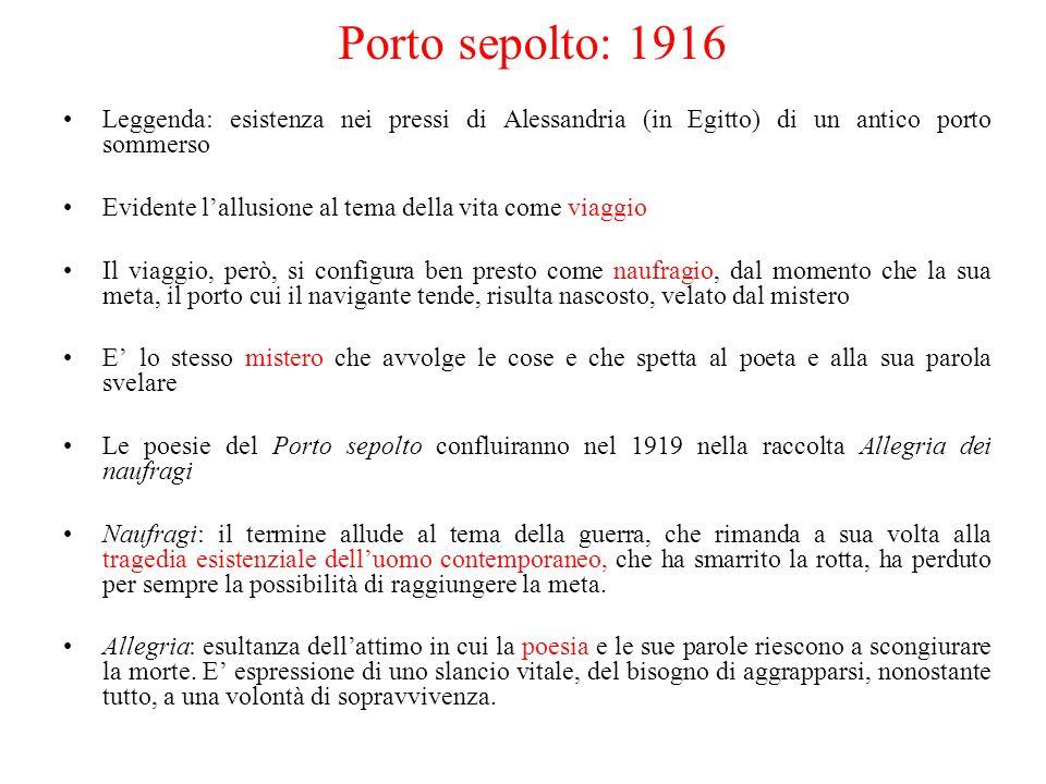 Porto sepolto: 1916 Leggenda: esistenza nei pressi di Alessandria (in Egitto) di un antico porto sommerso Evidente lallusione al tema della vita come