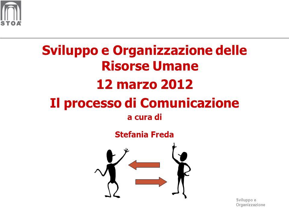 Sviluppo e Organizzazione Sviluppo e Organizzazione delle Risorse Umane 12 marzo 2012 Il processo di Comunicazione a cura di Stefania Freda