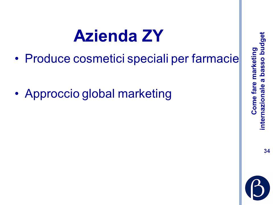 Come fare marketing internazionale a basso budget 33 Azienda Xy: come procediamo? Ricostruire lanalisi di settore anche per lItalia Primo lavoro sui t
