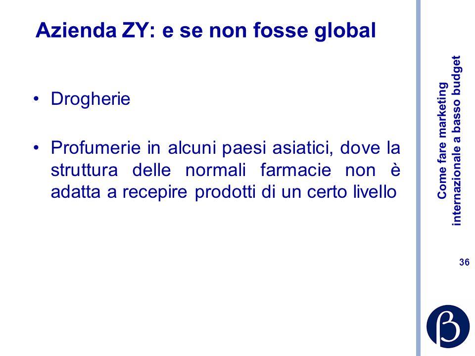 Come fare marketing internazionale a basso budget 35 Azienda ZY: le opzioni classiche Distributore già introdotto nel canale farmacia Filiale con rete