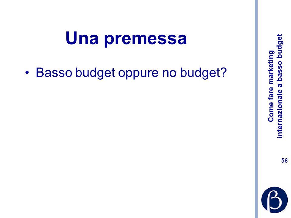 Come fare marketing internazionale a basso budget 57 Dove si generano i costi nel marketing internazionale? Ritardi/mancanza di pianificazione Comples