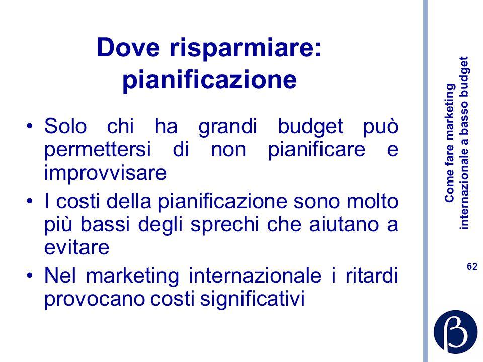 Come fare marketing internazionale a basso budget 61 Rapporto fiduciario con i fornitori Investire sulla selezione Rilasciare briefing precisi Azienda