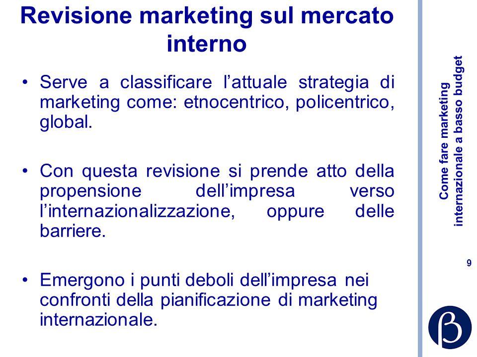 Come fare marketing internazionale a basso budget 8 Fasi principali del processo di selezione dei mercati: Revisione marketing sul mercato interno Ana