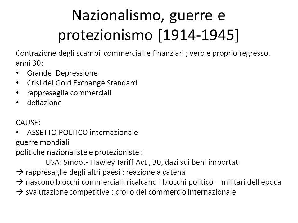 Nazionalismo, guerre e protezionismo [1914-1945] Contrazione degli scambi commerciali e finanziari ; vero e proprio regresso. anni 30: Grande Depressi