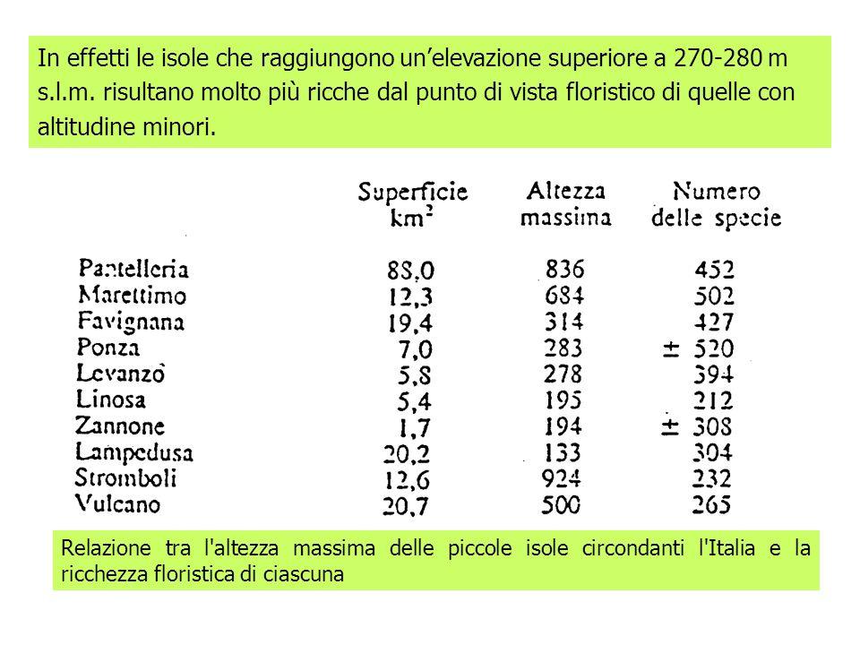 Relazione tra l'altezza massima delle piccole isole circondanti l'Italia e la ricchezza floristica di ciascuna In effetti le isole che raggiungono une