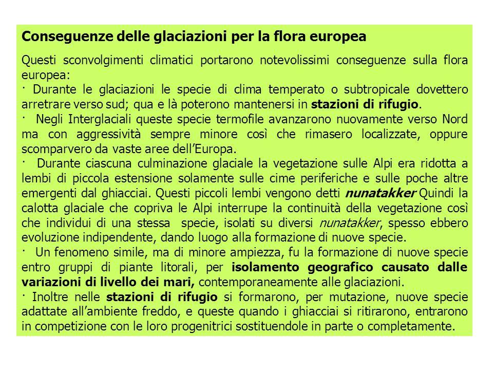 Conseguenze delle glaciazioni per la flora europea Questi sconvolgimenti climatici portarono notevolissimi conseguenze sulla flora europea: · Durante