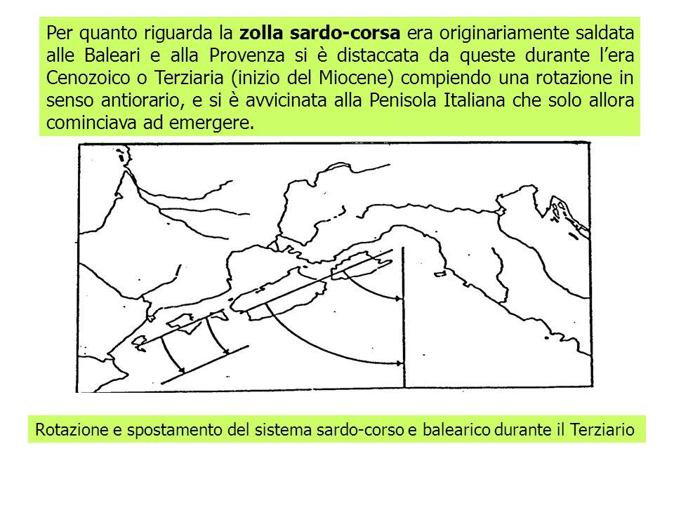Per quanto riguarda la zolla sardo-corsa era originariamente saldata alle Baleari e alla Provenza si è distaccata da queste durante lera Cenozoico o T