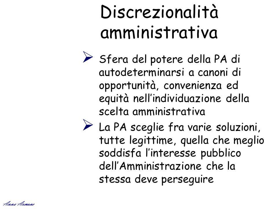 Discrezionalità amministrativa Sfera del potere della PA di autodeterminarsi a canoni di opportunità, convenienza ed equità nellindividuazione della s