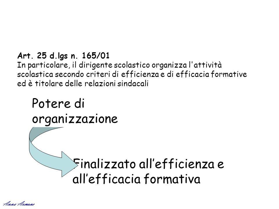 Art. 25 d.lgs n. 165/01 In particolare, il dirigente scolastico organizza l'attività scolastica secondo criteri di efficienza e di efficacia formative