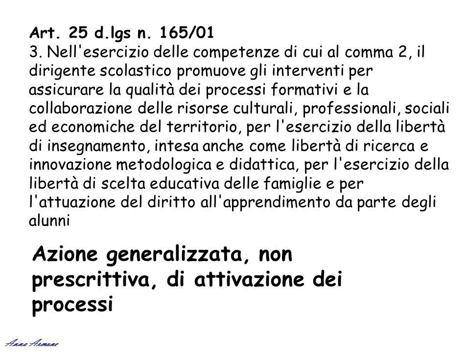 Art. 25 d.lgs n. 165/01 3. Nell'esercizio delle competenze di cui al comma 2, il dirigente scolastico promuove gli interventi per assicurare la qualit