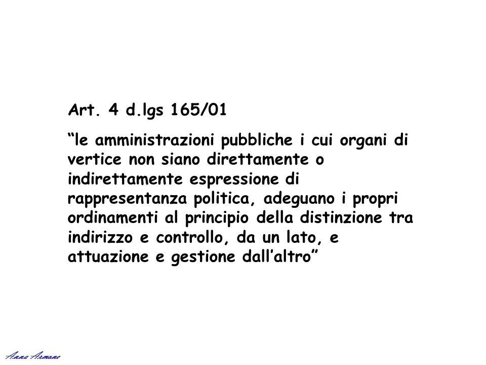 Art. 4 d.lgs 165/01 le amministrazioni pubbliche i cui organi di vertice non siano direttamente o indirettamente espressione di rappresentanza politic