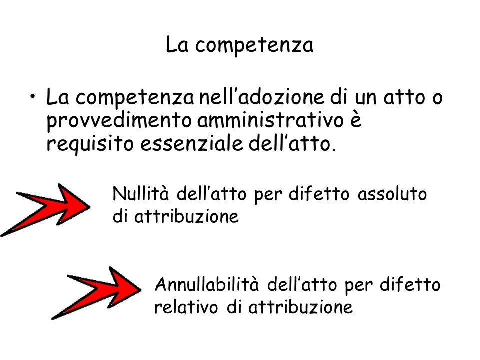 La competenza La competenza nelladozione di un atto o provvedimento amministrativo è requisito essenziale dellatto. Nullità dellatto per difetto assol