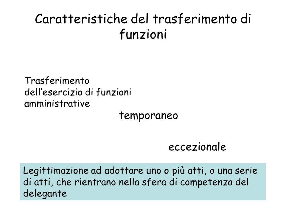 Caratteristiche del trasferimento di funzioni Trasferimento dellesercizio di funzioni amministrative temporaneo eccezionale Legittimazione ad adottare