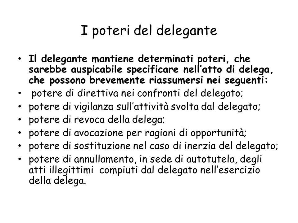 I poteri del delegante Il delegante mantiene determinati poteri, che sarebbe auspicabile specificare nellatto di delega, che possono brevemente riassu