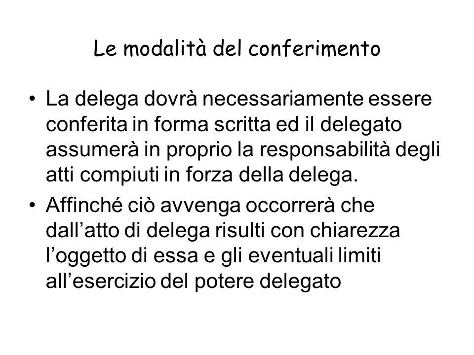 Le modalità del conferimento La delega dovrà necessariamente essere conferita in forma scritta ed il delegato assumerà in proprio la responsabilità de