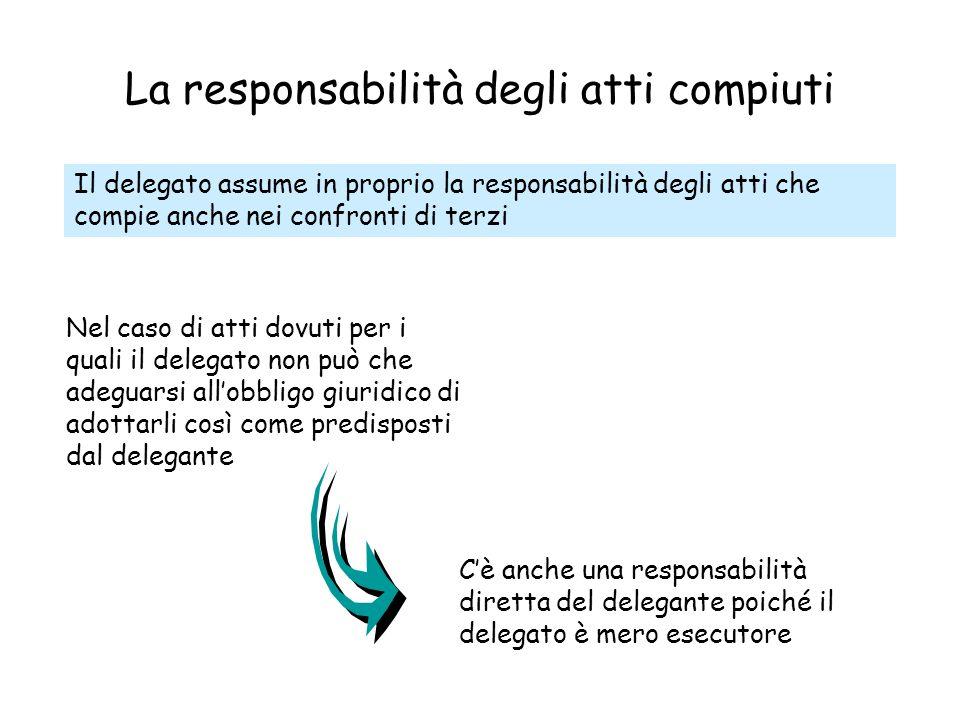 La responsabilità degli atti compiuti Il delegato assume in proprio la responsabilità degli atti che compie anche nei confronti di terzi Nel caso di a