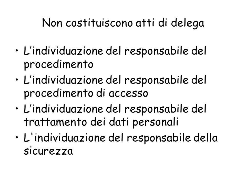 Non costituiscono atti di delega Lindividuazione del responsabile del procedimento Lindividuazione del responsabile del procedimento di accesso Lindiv