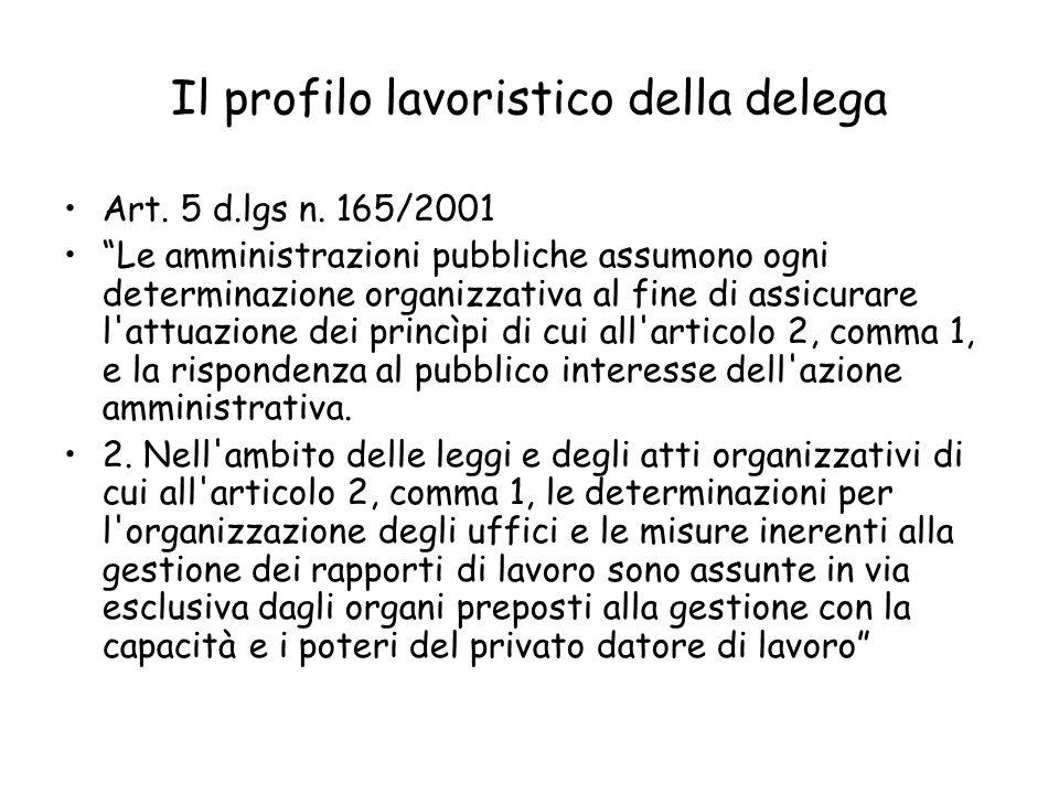 Il profilo lavoristico della delega Art. 5 d.lgs n. 165/2001 Le amministrazioni pubbliche assumono ogni determinazione organizzativa al fine di assicu