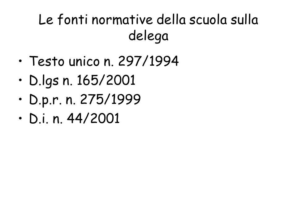 Le fonti normative della scuola sulla delega Testo unico n. 297/1994 D.lgs n. 165/2001 D.p.r. n. 275/1999 D.i. n. 44/2001