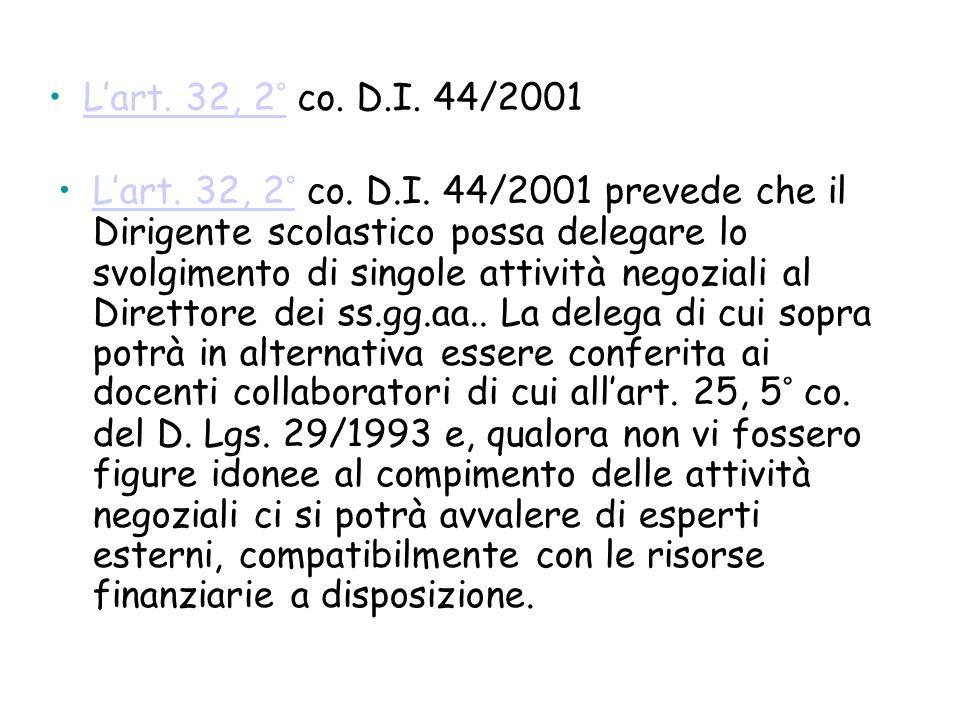 Lart. 32, 2° co. D.I. 44/2001Lart. 32, 2° Lart. 32, 2° co. D.I. 44/2001 prevede che il Dirigente scolastico possa delegare lo svolgimento di singole a