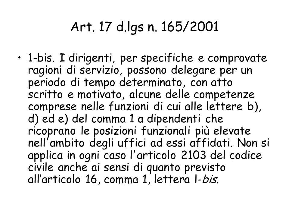 Art. 17 d.lgs n. 165/2001 1-bis. I dirigenti, per specifiche e comprovate ragioni di servizio, possono delegare per un periodo di tempo determinato, c