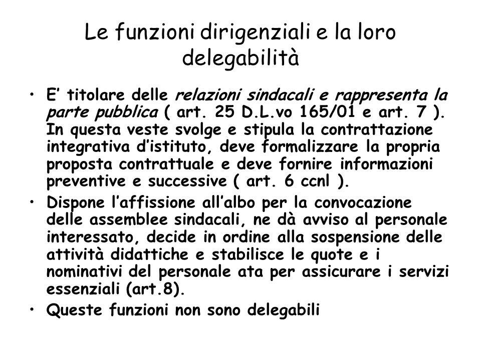 Le funzioni dirigenziali e la loro delegabilità E titolare delle relazioni sindacali e rappresenta la parte pubblica ( art. 25 D.L.vo 165/01 e art. 7